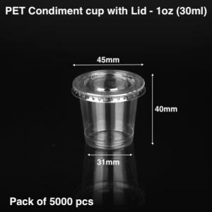 PET Condiment sauce container with lid-1 oz (5k pcs)