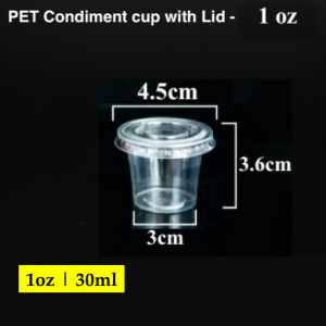 PET Condiment sauce container with lid-1 oz (2000 pcs)