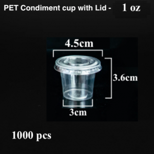 PET Condiment sauce container with lid-1 oz (1000 pcs)