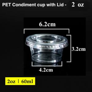 PET Condiment sauce container with lid-2 oz (2000 pcs)