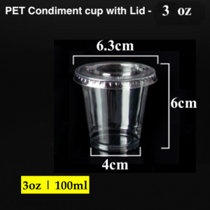 PET Condiment sauce container with lid-3 oz (2000 pcs)