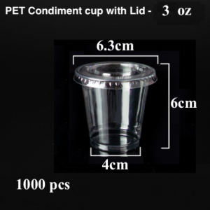 PET Condiment sauce container with lid-3 oz (1000 pcs)