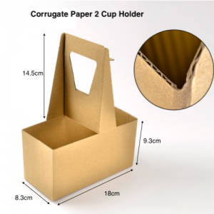 Corrugate-Paper Drink Carrier with Handles (Pack of 100) – 2-Cup