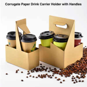 Corrugate-Paper Drink Carrier with Handles (Pack of 100)