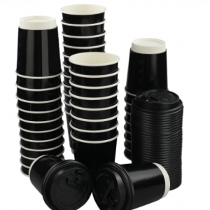 Black Double wall recycle hot cup (Pack of 500 pcs)