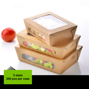 Kraft Paper Take-Out Salad Box with Windows(Pack of 200)