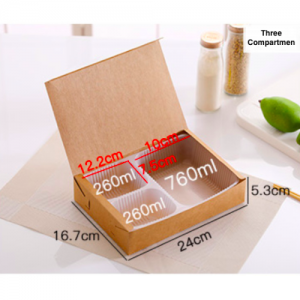 ECO Friendly Kraft Paper Bento Takeout Box 3 Compartments (Pack of 200 pcs)