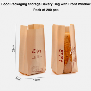 Paper Bread Food Packaging Storage Bakery Bag with Front Window (Pack of 200)