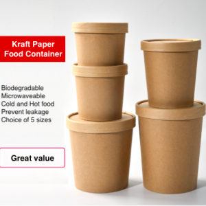 ECO Friendly Kraft Paper Food/Soup Container with Lid (Pack of 500 pcs)