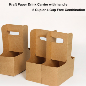Kraft Paper Drink Carrier with Handles 2/4 Cup Free Combination (Pack of 500)
