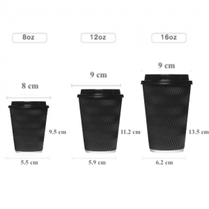 Black Corrugated Sleeve Ripple Wall Paper Coffee Cups(Pack of 500pcs)