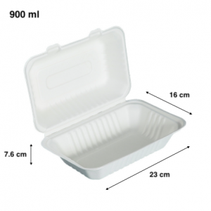 Bagasse Clamshell Takeout Container 900ML (Pack of 500 pcs)