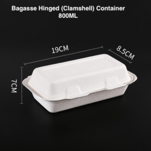 Bagasse Clamshell Takeout Containers 800ML (Pack of 1k pcs)
