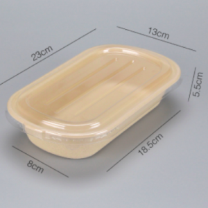 Wheat Straw Fiber Take Out Container 850ml with PET Lid(set of 500 sets)