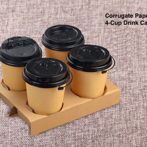 4 Cup Corrugate-Paper Drink Carrier for 6-32 oz Cups (250 pcs)