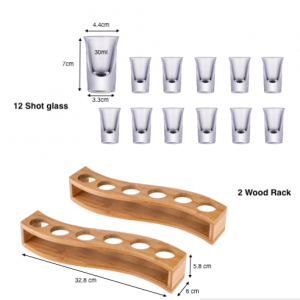 2×6 Pcs Shot Glass Set with Tray,Thick Base Crystal Clear Shot Glasses and Wood Holder