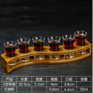 6 Pcs Shot Glass Set with Tray,Thick Base Crystal Clear Shot Glasses and Wood Holder