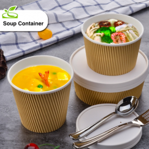ECO Friendly Corrugate Paper Food/Soup Container with Lid (Pack of 500 pcs)