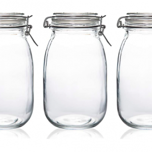 Cylinder Glass Jar Airtight lock Storage Container (set of 9)