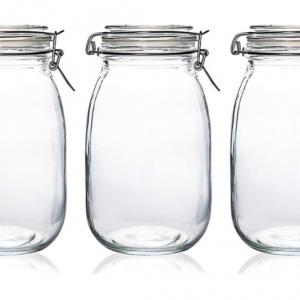 Cylinder Glass Jar Airtight lock Storage Container (set of 9)