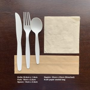Biodegradable Corn Starch Cutlery Set Include Knife, Fork, Spoon, Napkin and Kraft Paper Package(1000 sets)