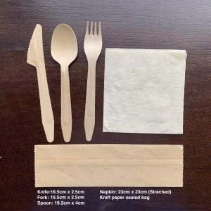 To Go Wooden Cutlery Set Include Knife, Fork, Spoon, Napkin and Kraft Paper Package(100 sets)