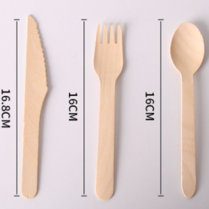 Wooden Cutlery Set Include Knife, Fork, Spoon, Napkin and Kraft Paper Package(2000 sets)