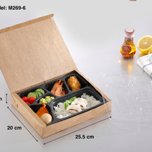 ECO Friendly Kraft Paper Bento Takeout Box 6 Compartments (Pack of 200 pcs)