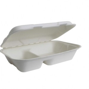 Bagasse Clamshell Takeout 2-Compartment 950ML (Pack of 500 pcs)