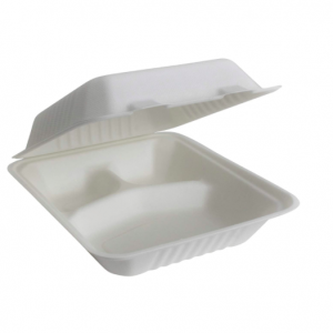 Bagasse Clamshell Takeout 3-Compartment 1250ML (Pack of 500 pcs)