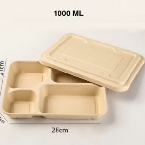 Wheat Straw Fiber Takeout Container 4-Compartment 1000ML with Paper Cover (Pack of 400 sets)