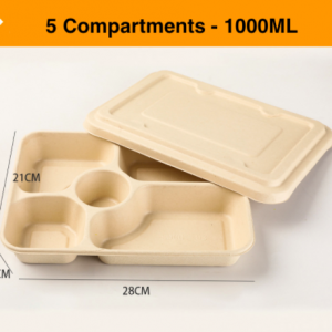 Wheat Straw Fiber Takeout Container 5-Compartment 1000ML with Paper Cover (Pack of 400 sets)