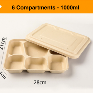 Wheat Straw Fiber Takeout Container 6-Compartment 1000ML with Paper Cover (Pack of 400 sets)