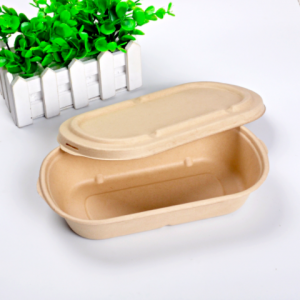 Wheat Straw Fiber Take Out Container 850ml with Paper Lid(set of 500 sets)