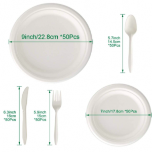 Compostable Disposable Dinnerware Set Includes Biodegradable Paper Plates Forks Knives Spoons (250 PCS)