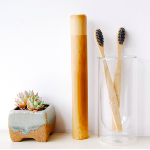Bamboo Toothbrush with Elegant Eco Travel Case