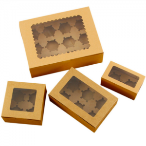 Kraft Cake Boxes for Bakery Brown Cupcakes Boxes with Window (100 pcs)