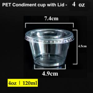 PET Condiment sauce container with lid-4 oz (2000 pcs)