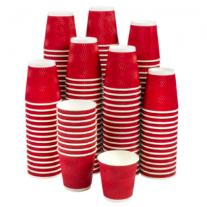 Red Corrugated Sleeve Ripple Wall Paper Coffee Cups(Pack of 500pcs)