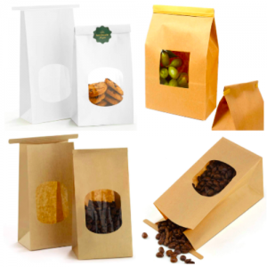 Kraft Paper Bakery Bag with Front Window (Pack of 500)