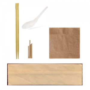 Bamboo Utensil Set: Chopstick|Soup Spoon|Toothpicks|Napkin (Set of 1000)