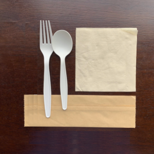 Biodegradable Corn Starch Cutlery Set Include Fork, Spoon, Napkin and Kraft Paper Package(1000 sets)