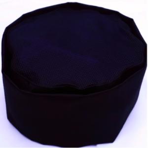 Cotton Chef Hat Cap Adjustable – Black Net Top (10 pcs)