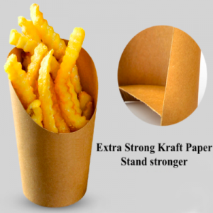 Disposable Kraft Paper Food Containers French Fry Holder (500 pcs)