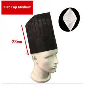 Disposable Non Woven Flat Top Medium Chef Hat Black (100 pcs)