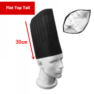 Disposable Non Woven Flat Top Tall Chef Hat Black (100 pcs)