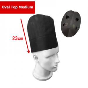 Disposable Non Woven Oval Top Medium Chef Hat Black (100 pcs)