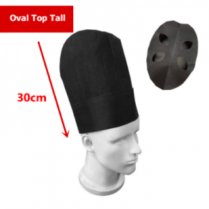 Disposable Non Woven Oval Top Tall Chef Hat Black (100 pcs)