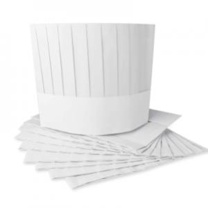 Disposable Non Woven Flat Top Medium Chef Hat White (100 pcs)