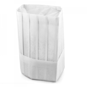 Disposable Non Woven Flat Top Tall Chef Hat White (100 pcs)